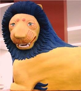 Farbrekonstruktion des Löwenaus Loutraki