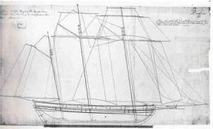 """Konstruktionszeichnung des Baltimore- Klippers """"Flying Fish"""""""