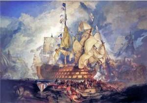 Die Schlacht von Trafalgar. Gemälde von Turner 1822