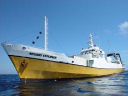 Das 84 Meter Forschungsschiff OdysseyExplorer der Odyssey Marine Exploration