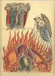 Das Bild 'Die Hure Babylons' aus der Ezyklopädie 'Hortus Deliciarum' der Äbtissin Herrad von Landsberg, Mitte des 12. Jahrhunderts zeigt die 'Thiere', die wir aus der Apokalypse des Johannes kennen.