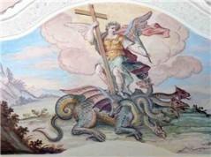 Kirchenmalerei. Der heilige Sebastian bezwingt den Drachen