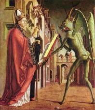 Der Heilige Augustinus und der Teufel', Flügelaltarszene, von Michael Pacher ca. 1430.