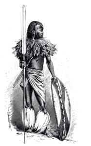 """Massai-Krieger, Historische Darstellung, aus """"Völkerkunde"""" von Friedrich Ratzel, 1894."""