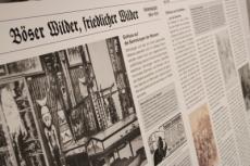 Ausstellungstafel mit historischer Fotografie. Foto: Landesmuseum Natur und Mensch