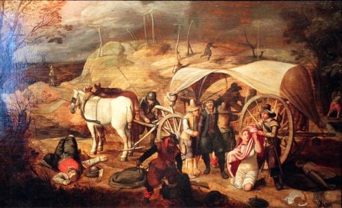 Marodierende Soldaten 1647, eine Belastung für das Verhältnis zwischen Militär und Zivilbevölkerung.
