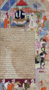 Die Bevölkerung schwört dem neuen Abbasiden-Kalifen al-Ma'mun die Treue. Aus: Tarikh-i Alfi, Die Geschichte des ersten muslimischen Jahrtausends, 1593