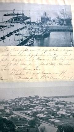 """Aus dem Tagebuch Fritz Stegherrs: """"Die hier sichtbaren Anlegebrücken liegen links von den vorhergehenden drei ....und heißen """"Kings"""" und """"Queens"""" Pier. Noch weiter nach links käme dann Hobarts Stolz, die über 900 m lange """"Ocean"""" Pier. Das untere Bild zeigt Burnie, einen Hafen an Tasmaniens Nordküste."""" ©Roswitha Müller"""